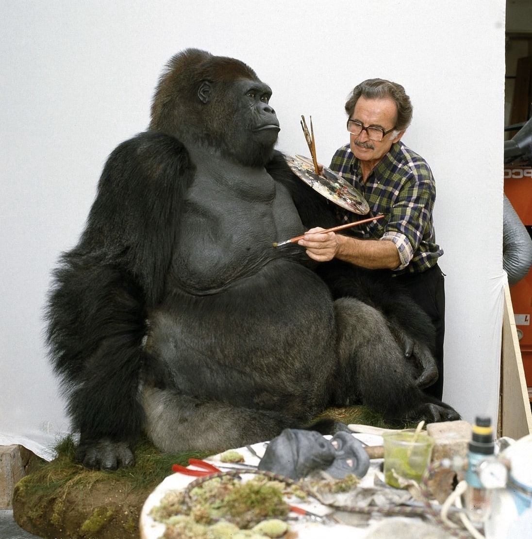 Photograph of Guy the Gorilla and taxidermist Arthur Hayward. Photo from the Natural History Museum, London