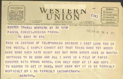 """Dorothy Parker telegram to Editor. Featured in Dorothy Parker's """"The Collected Dorothy Parker"""" in the Examined Life Library."""