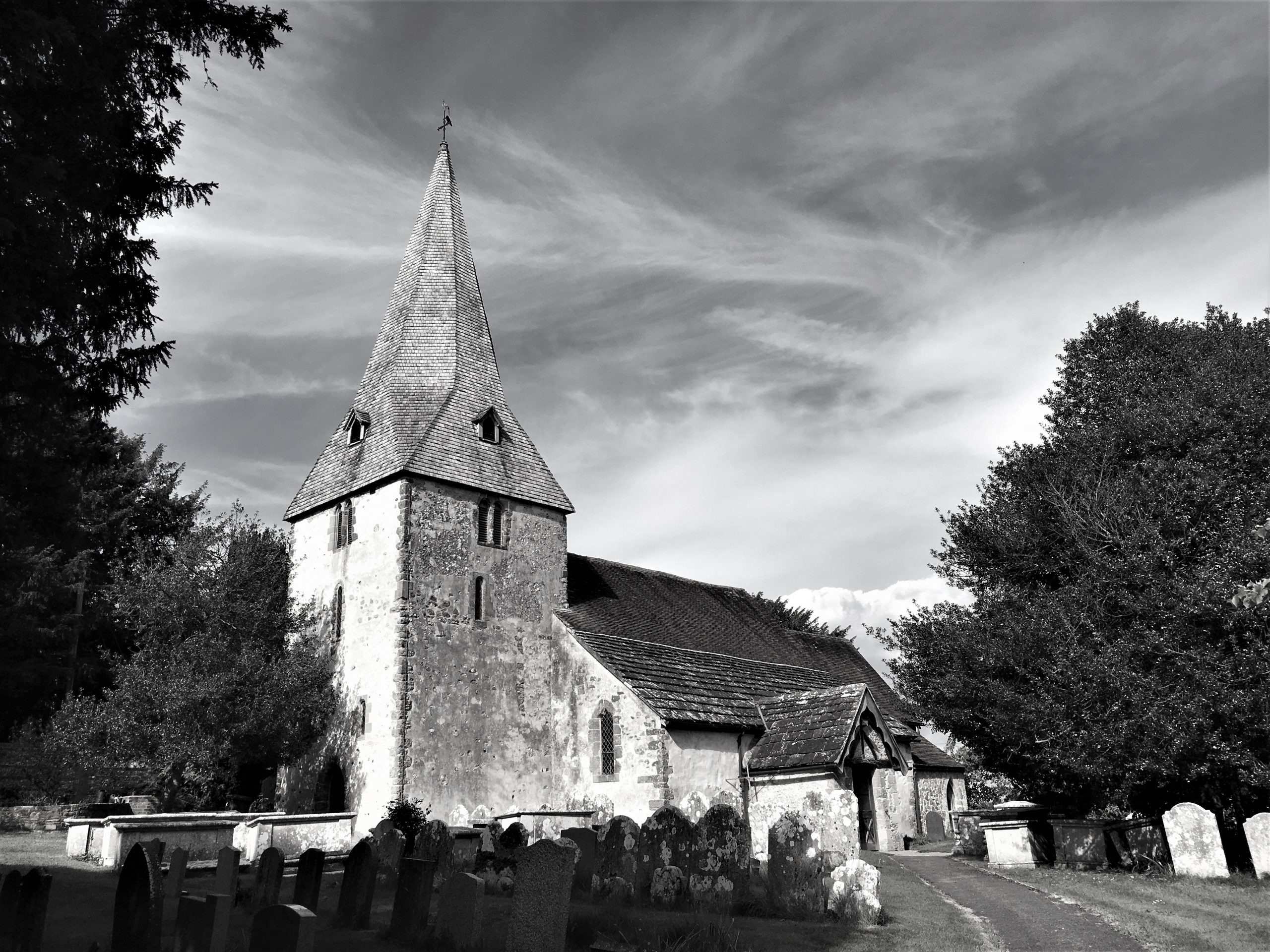 "Village church. Featured in Laurie Lee's ""A Village Christmas"" in the Examined Life Library."
