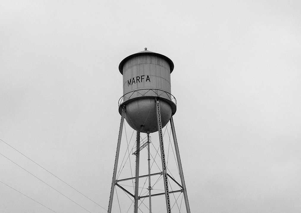 "Watertower in Marfa, West Texas. Featured in John Steinbeck's ""Travels with Charley"" in The Examined Life Library."