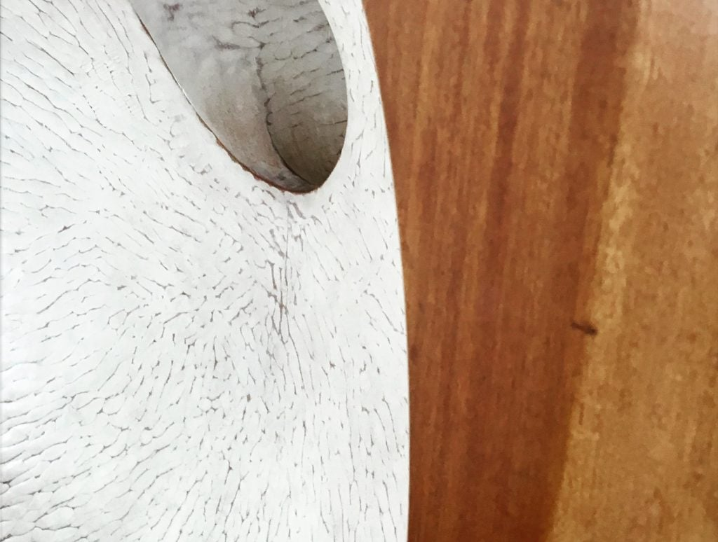 "Close-up of ""Pierced Form"" by Barbara Hepworth, 1962."
