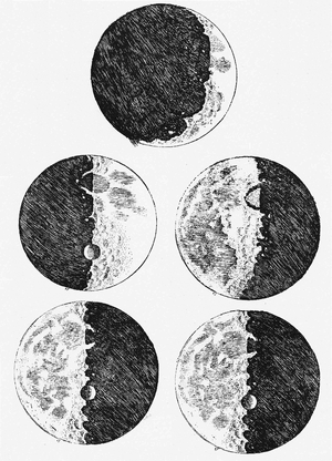 Galileo Galilei's Phases of the moon showing earth-like scapes demonstrating the imperfectibility of these heavenly bodies. Published in Sidereus Nuncius