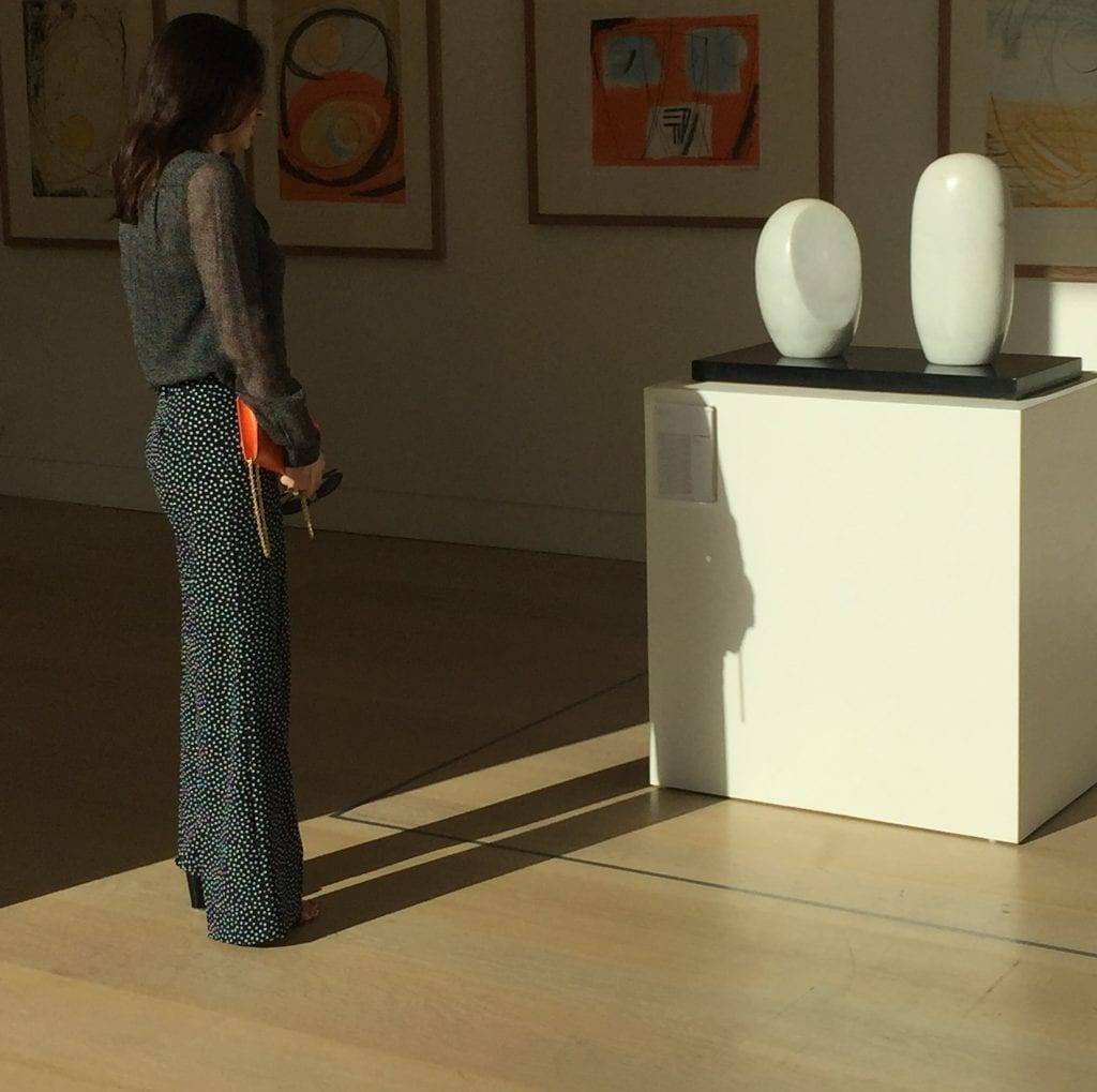 "Contemplation of Barbara Hepworth's ""Two Turning Forms"" moved to London for exhibit, normally kept in Yorkshire. Made in the Artist's studio, St. Ives."
