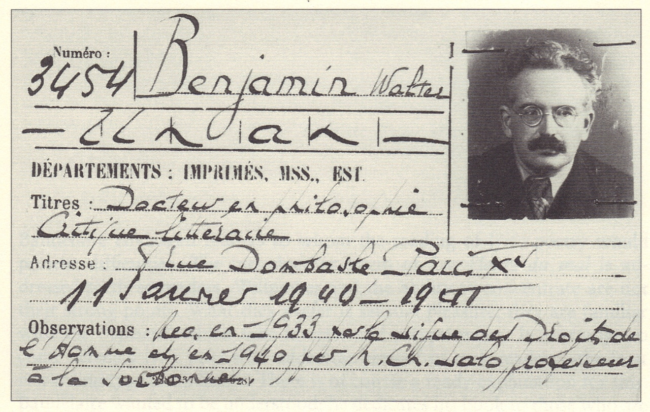 "Walter Benjamin's card for Bibioteque nationale de France. Featured in Walter Benjamin's ""Illuminations"" in the Examined Life Library."