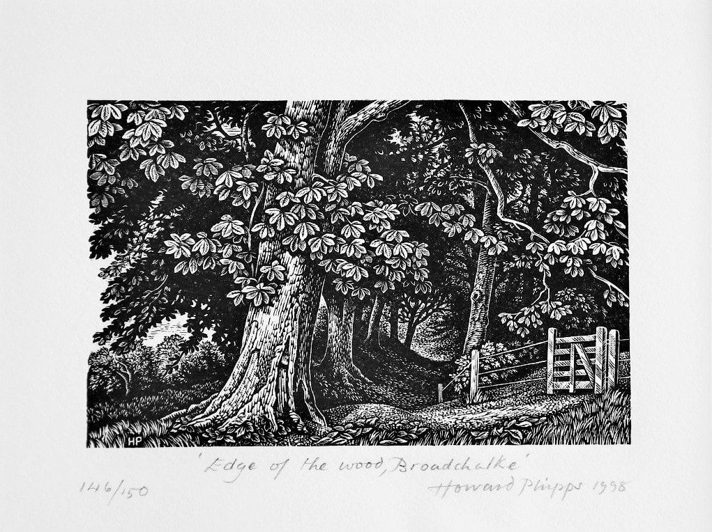 """Edge of the Wood, Broadchalke"" engraving by Howard Phipps used in ""The Old Ways"" book entry."