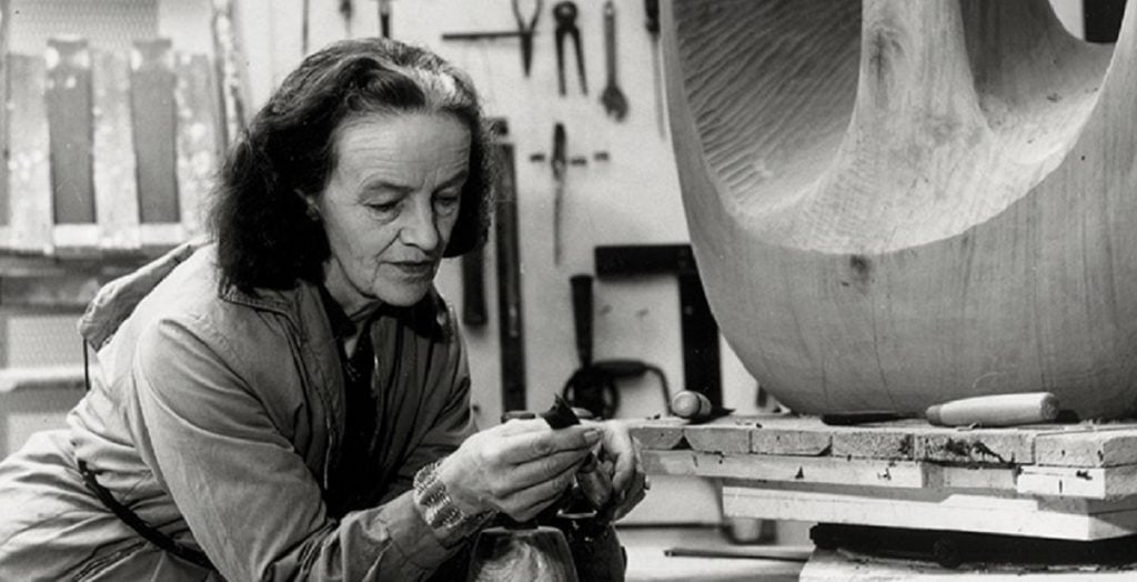 "Photo of Barbara Hepworth in her studio. Featured in ""Writings and Conversations, 1933-1975"" in The Examined Life Library."
