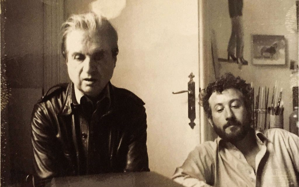 "Photo of Francis Bacon and Michael Peppiatt. Featured in Michael Peppiatt's ""Francis Bacon in Your Blood: A Memoir"" in The Examined Life Library."