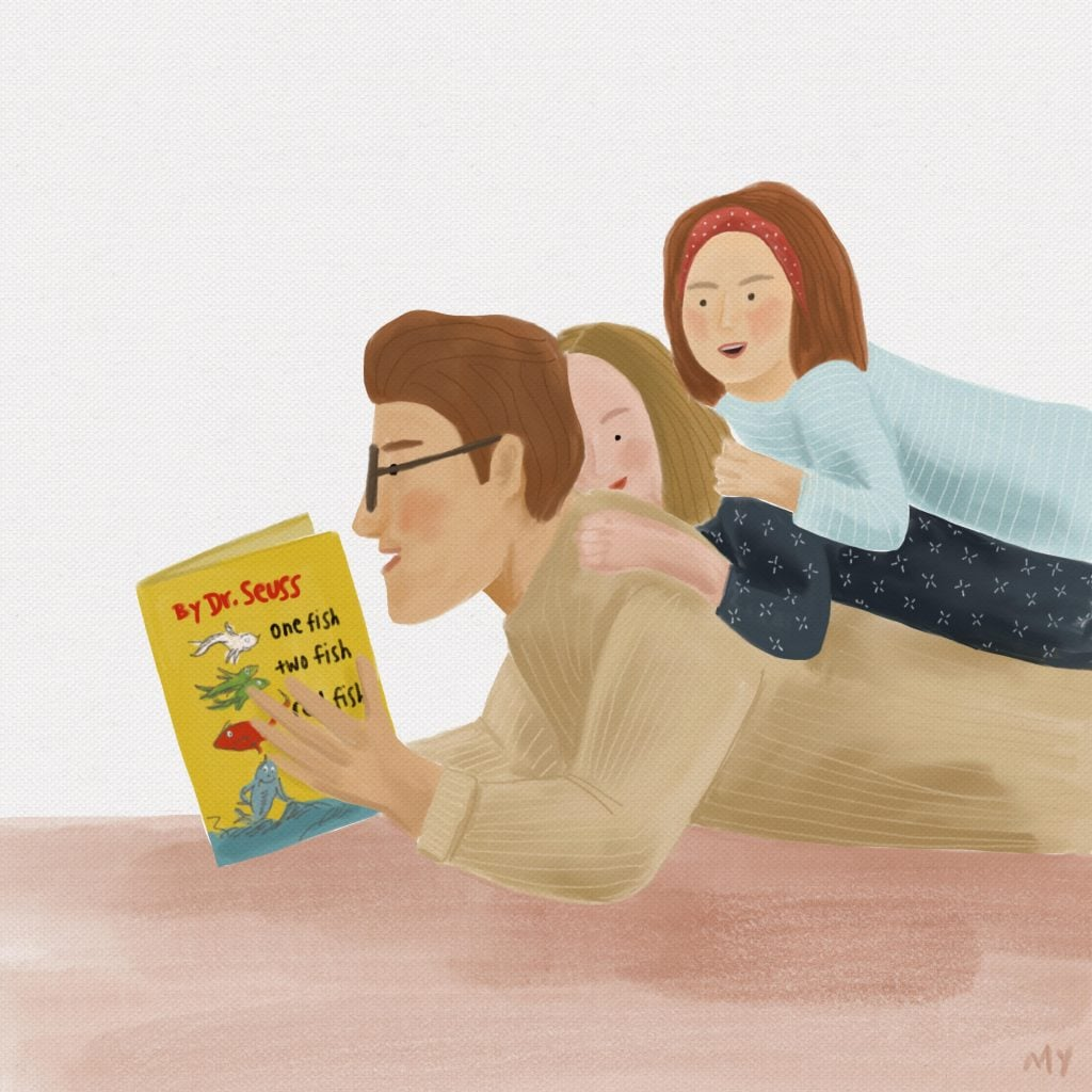 "Illustration ""The Wonder of Being Read To"" by Marilyn Yee. Featured in ""The Comfort and Wonder of Being Read To."""