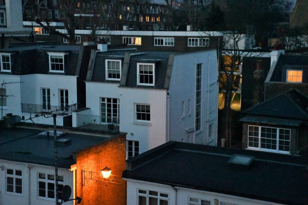 "Photo of London twilight from my window. Featured in Robert Lowell's ""Life Studies"" in the Examined Life Library."