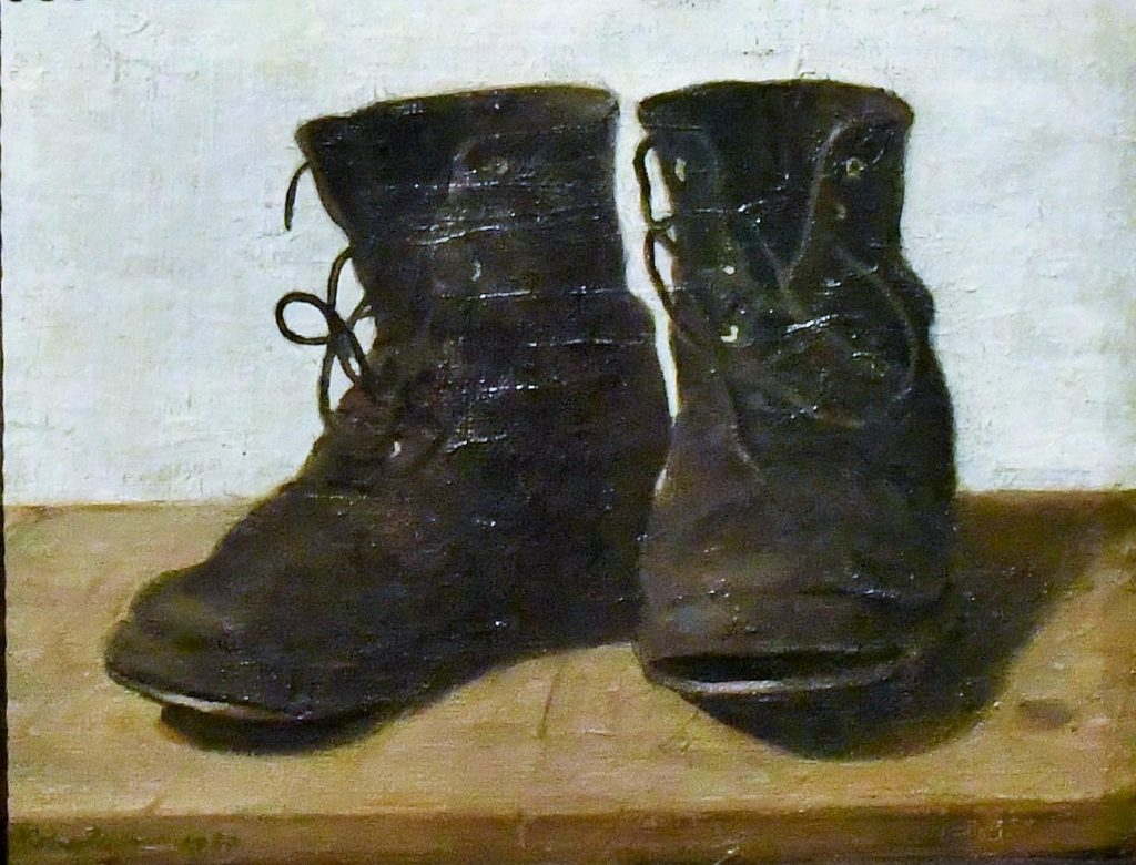 """Miss Jekyll's Gardening Boots"" by William Nicholson, 1920. Featured in Gertrude Jekyll's ""Colour Schemes for the Flower Garden"" in The Examined Life Library."