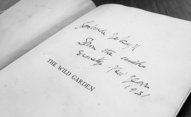 "Inscription from William Robinson to Gertrude Jekyll featured in Gertrude Jekyll's ""Colour Schemes for the Flower Garden"" in The Examined Life Library."