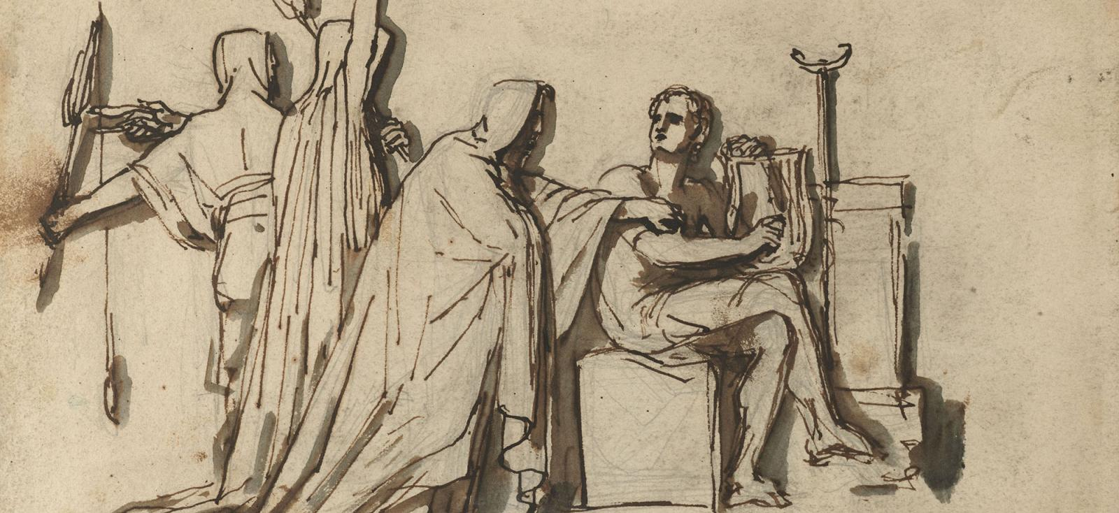 "Design for a memorial to Keats, ""Fates Seizing Keats,"" by Joseph Severn, 1822. Featured in John Keats' ""Selected Letters"" in The Examined Life Library."