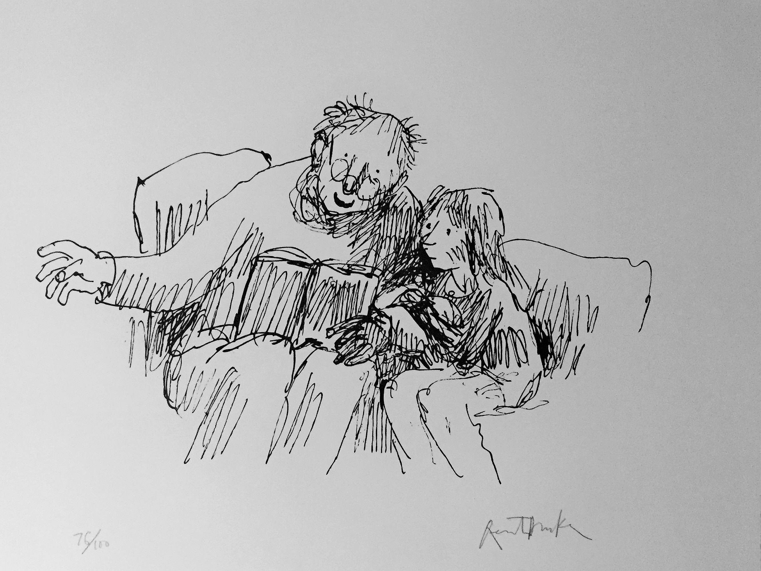 """The Last Chapter"" by Quentin Blake. Featured in Roald Dahl's ""Boy"" in the Examined Life Library."