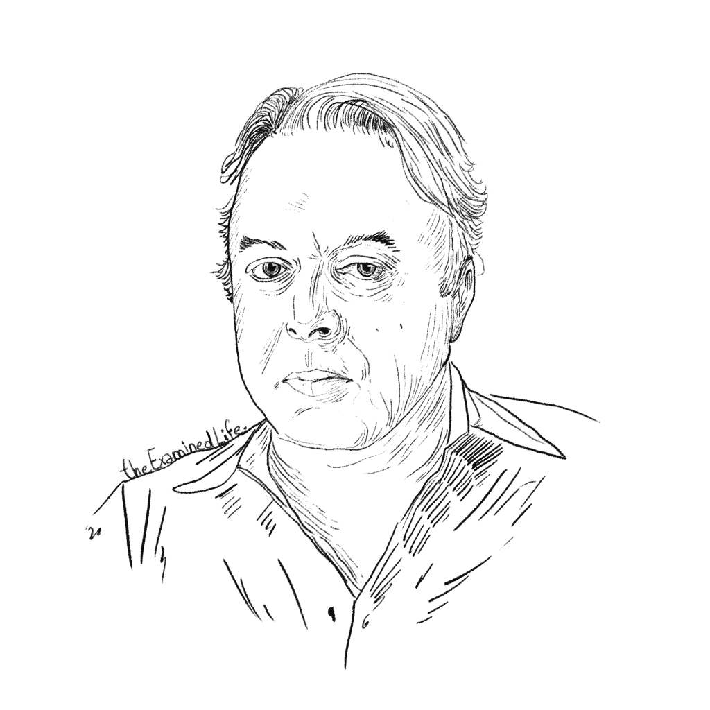 Illustration of Christopher Hitchens.