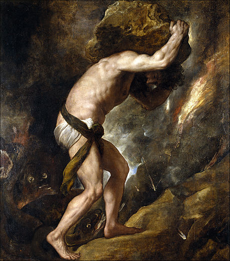 """Sisyphus"", 1548 by Titian. Featured in Albert Camus' ""The Myth of Sisyphus"" in the Examined Life Library"