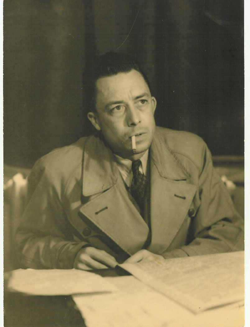 "Photograph of Albert Camus in 1957. Photograph by Robert Edwards. Featured in Albert Camus' ""The Myth of Sisyphus"" in the Examined Life Library."