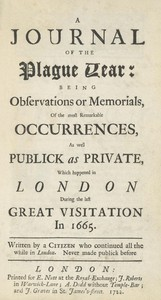 "Cover page for Daniel Defoe's ""Journal of the Plague Year"" in the Examined Life Library."