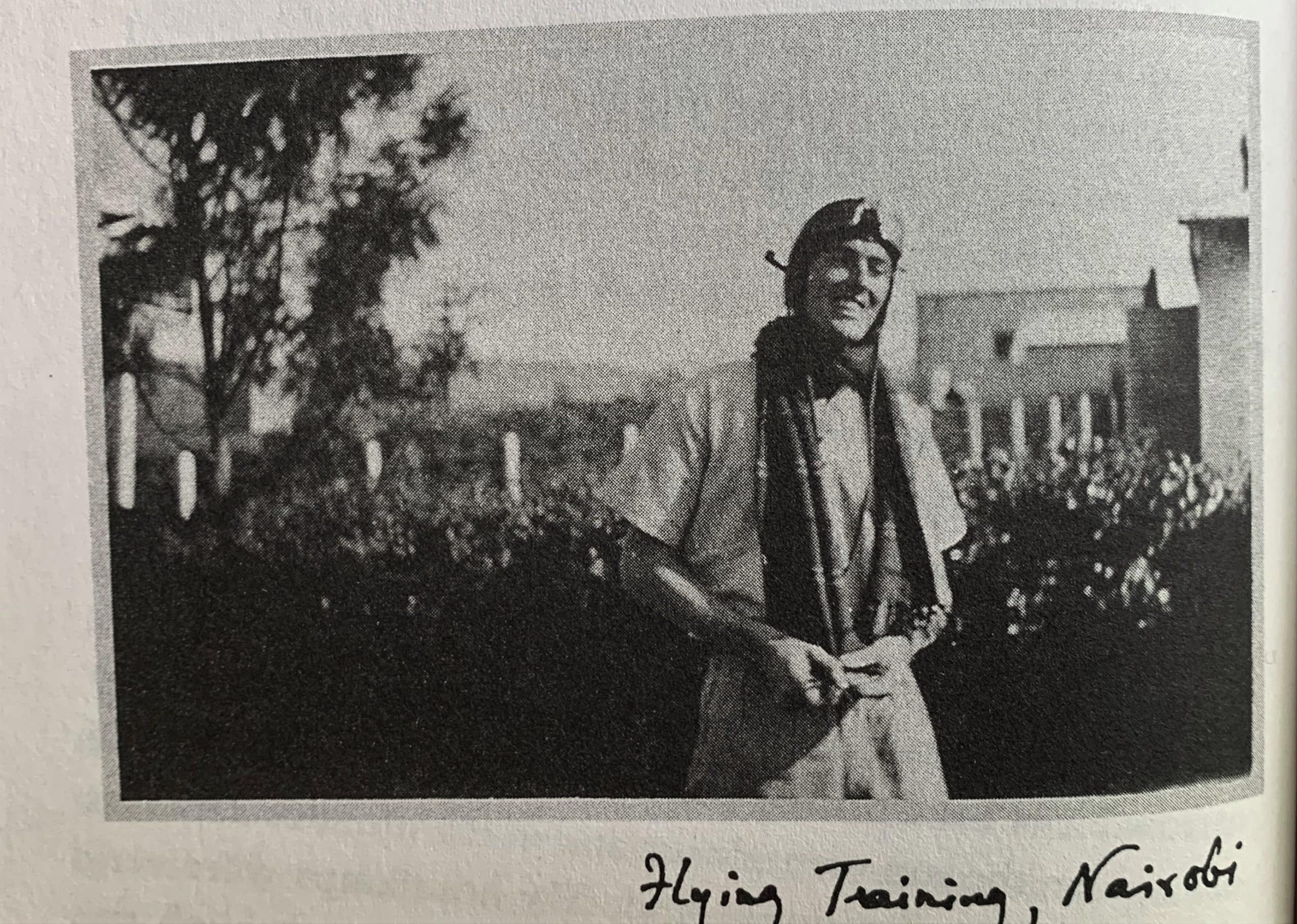 """Photo of Roald Dahl in Dahl's """"Going Solo"""" in the Examined Life Library."""