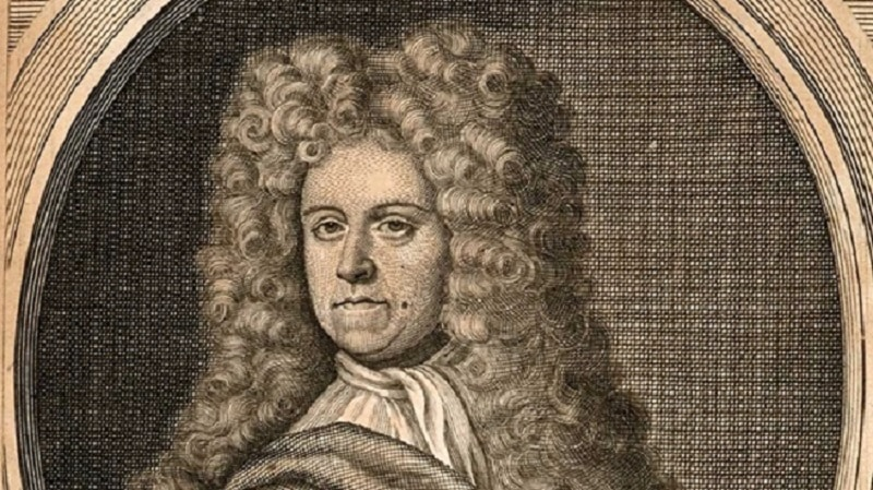 "Engraving of Daniel Defoe for Defoe's ""Journal of the Plague Year"" in the Examined Life Library."