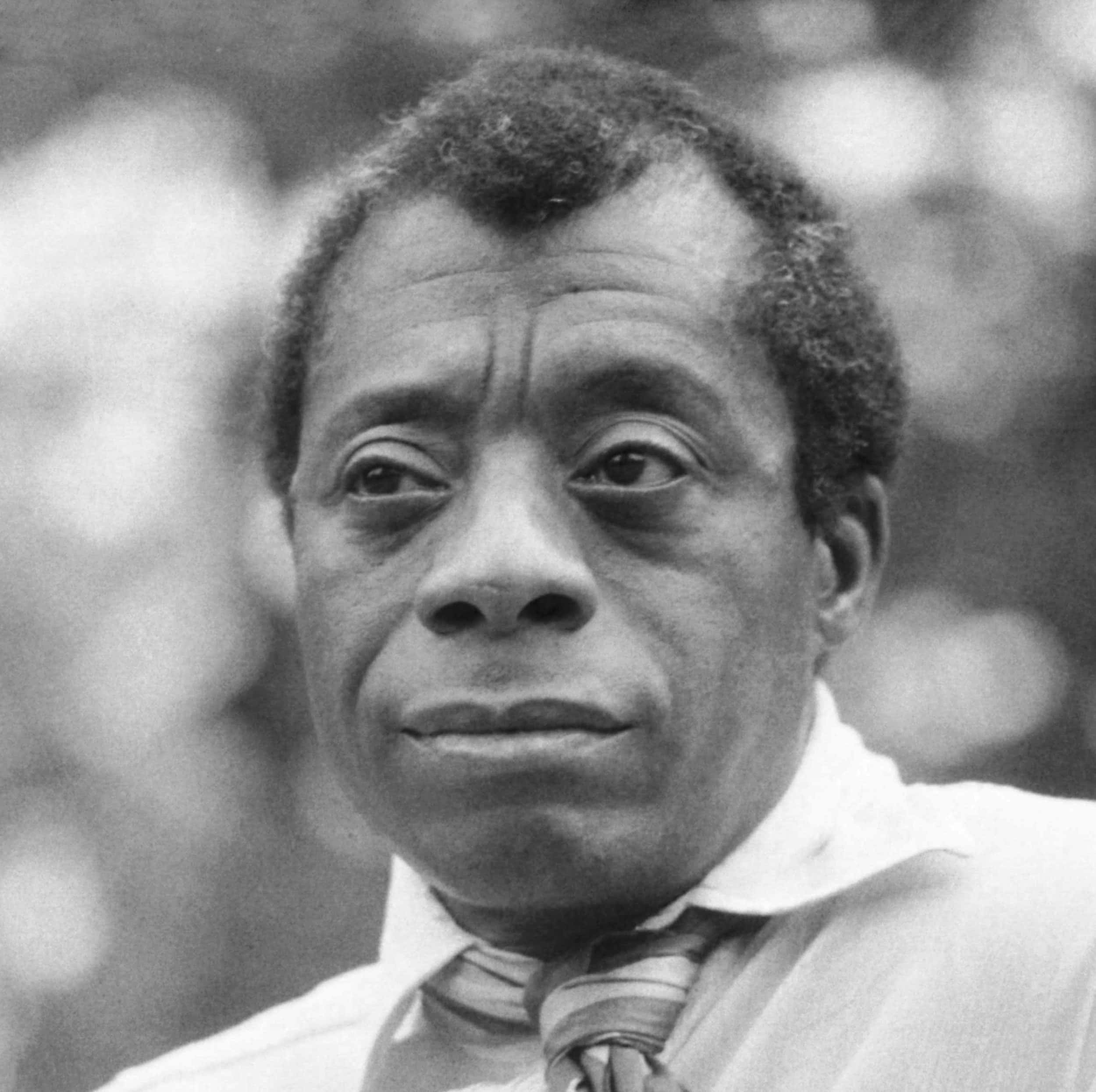 """Photo of James Baldwin for Baldin's """"Notes of a Native Son"""" in the Examined Life Library."""