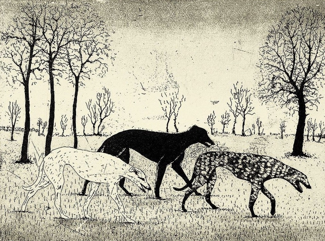 """""""Hounds"""" by Tim Southall. Featured in Mary Oliver's """"Dog Songs"""" in the Examined Life Library."""