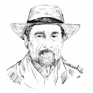 "Illustration of Irvin Yalom for Yalom's ""Staring at the Sun"" in the Examined Life Library."