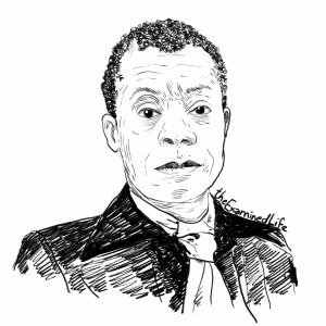 """Illustration of James Baldwin for Baldin's """"Notes of a Native Son"""" in the Examined Life Library."""