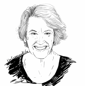 "Illustration of Annie Dillard for Dillard's ""Pilgrim at Tinker Creek"" in the Examined Life Library."
