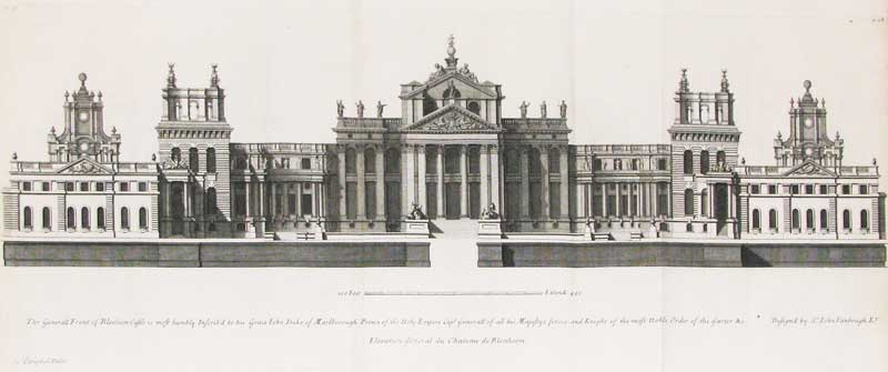 """Engraving of Blenheim Palace published in """"Vitruvius Britannicus"""" 1715, featured in """"What is That Feeling of Home?"""" on the Examined Life."""