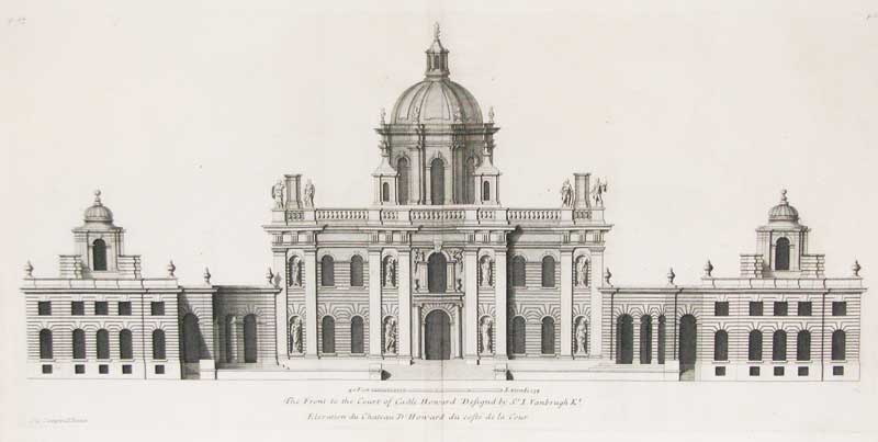 """Engraving of Castle Howard published in """"Vitruvius Britannicus"""" 1715, featured in """"What is That Feeling of Home?"""" on the Examined Life."""