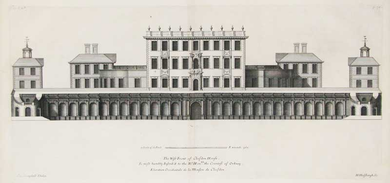 """Engraving of Cliveden published in """"Vitruvius Britannicus"""" 1715, featured in """"What is That Feeling of Home?"""" on the Examined Life."""