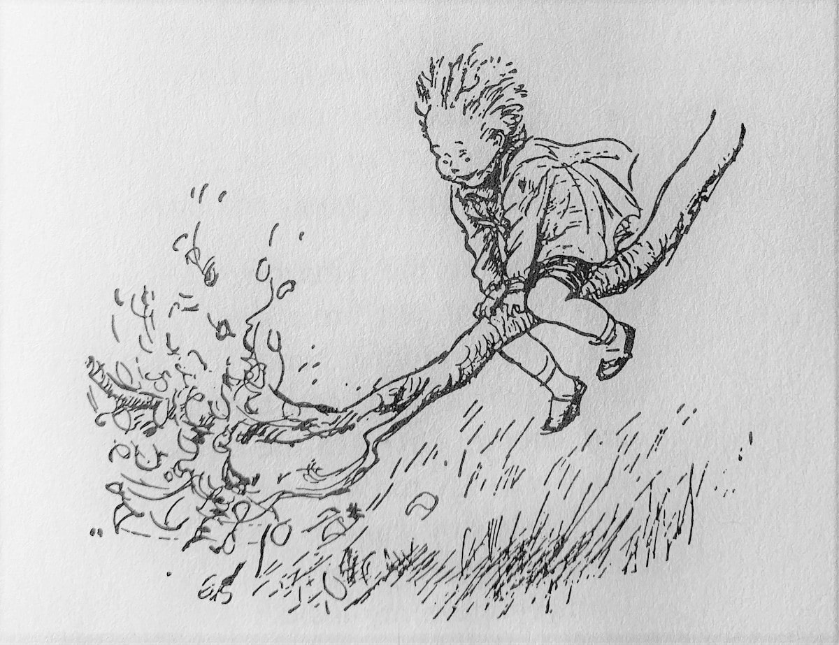 """Illustration for A. A. Milne's """"When We Were Very Young"""" in the Examined Life Library."""