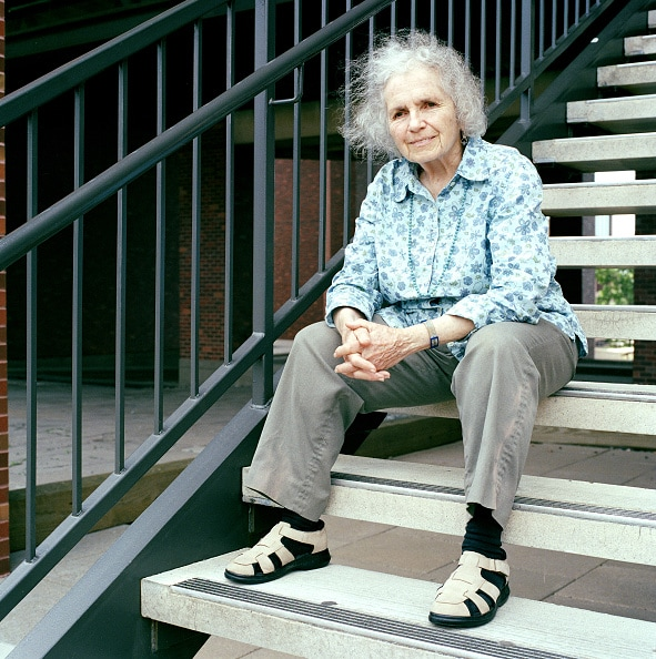 """Grace Paley in 2004 by Eamonn McCabe used for Grace Paley's """"Begin Again, Collected Poems"""" in the Examined Life Library."""