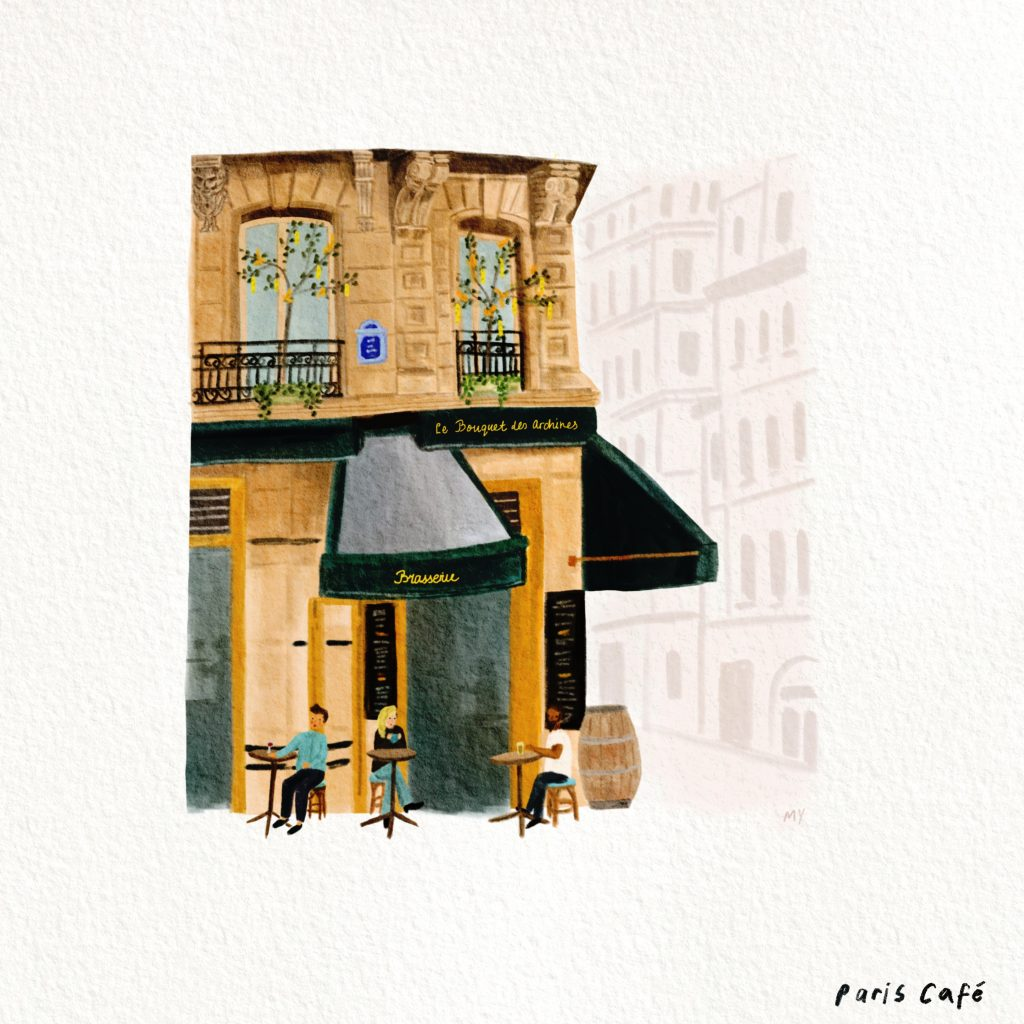 """Cafe by Marilyn Yee featured in Peter Mayle's """"Encore Provence"""" in the Examined Life Library."""