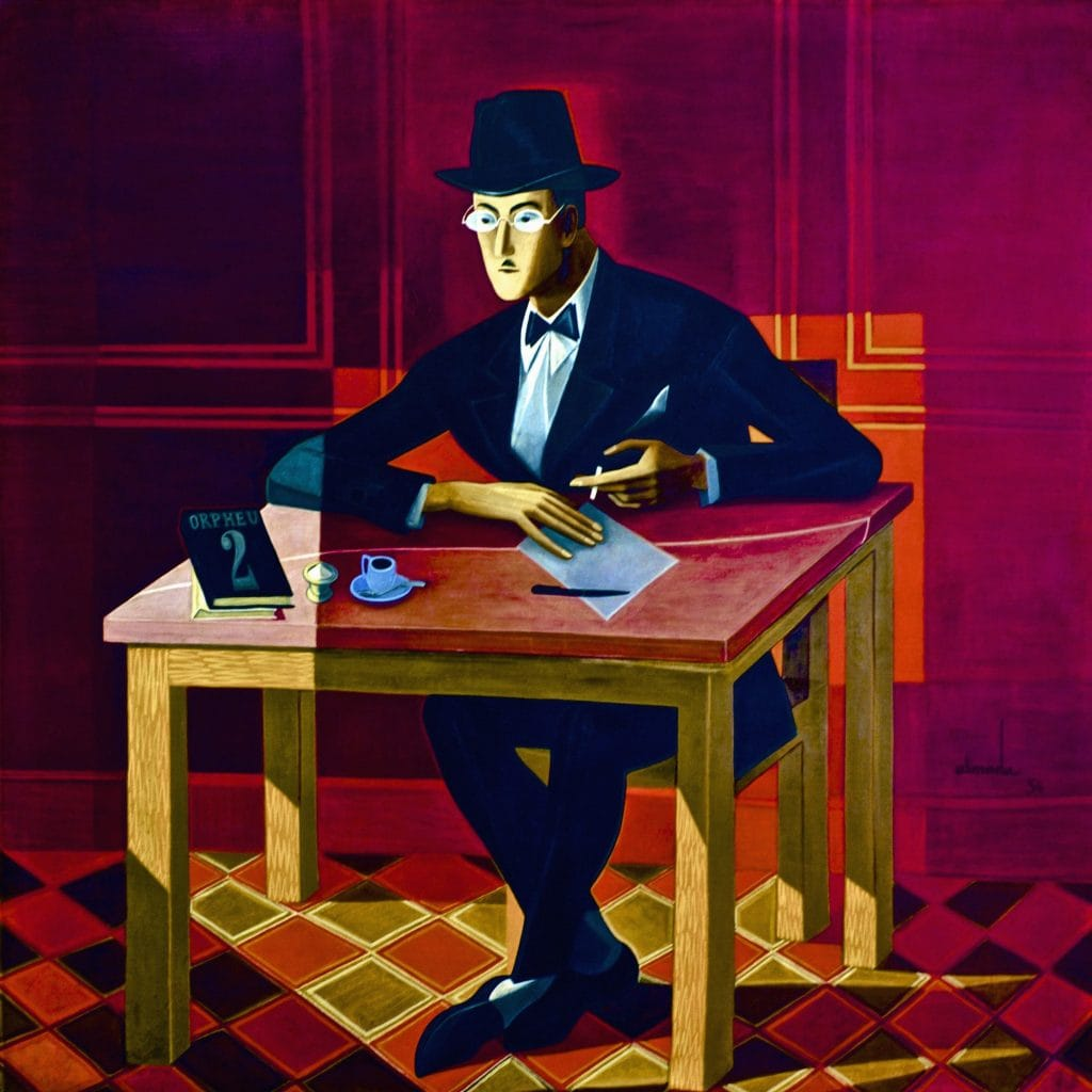 """Almada Negreiros - Portrait of Fernando Pessoa - 1954, featured in Fernando Pessoa's """"I Have More Souls Than One"""" in the Examined Life Library."""